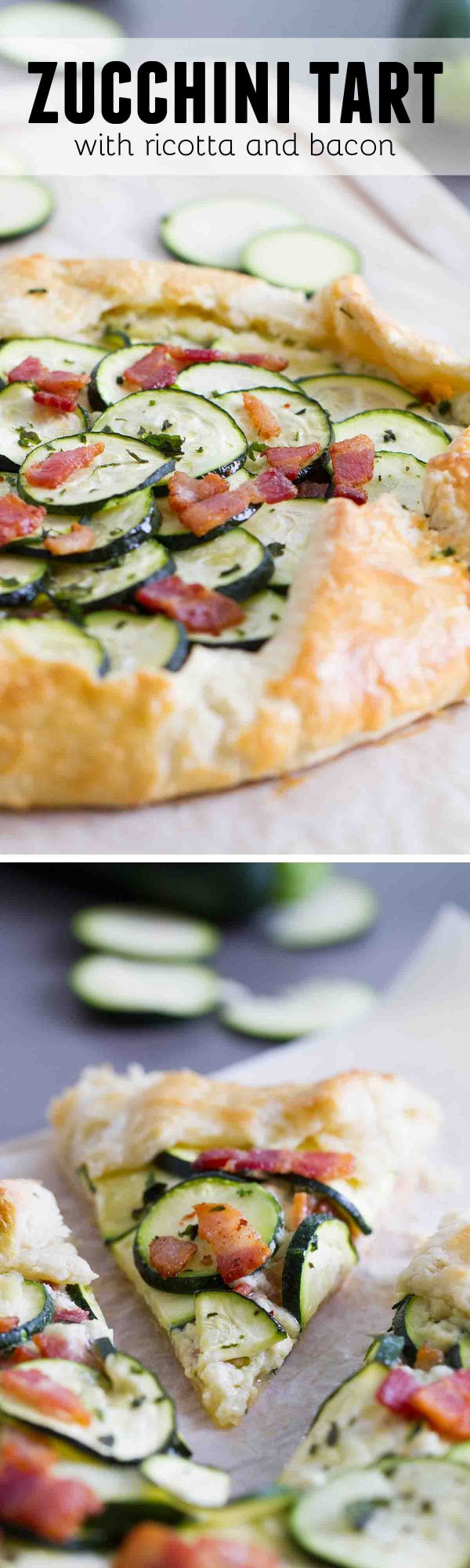 A tender, flaky crust is filled with a creamy ricotta filling, then topped with bacon and zucchini in this easy Zucchini Tart with Ricotta and Bacon that is perfect for a luncheon or a light dinner.