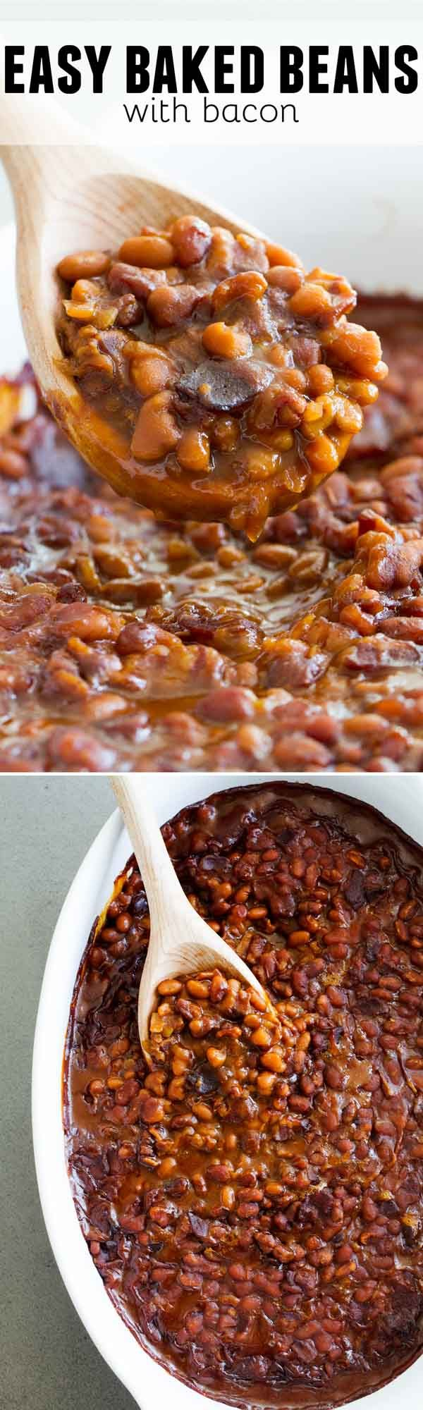 Full flavored and super easy, these Easy Baked Beans with Bacon are so delicious that you'll want to serve them with every meal all summer long!