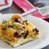 10 minutes prep the night before, and breakfast is a cinch in the morning! This Croissant Breakfast Casserole with Jerky and Cheddar is the perfect answer to busy mornings!