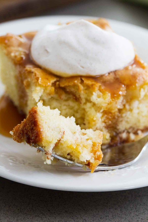 Simple and classic - this tender Apple Cinnamon Cake has a cinnamon sugar ribbon running through it. The cinnamon whipped cream and caramel topping turn this into a special dessert.