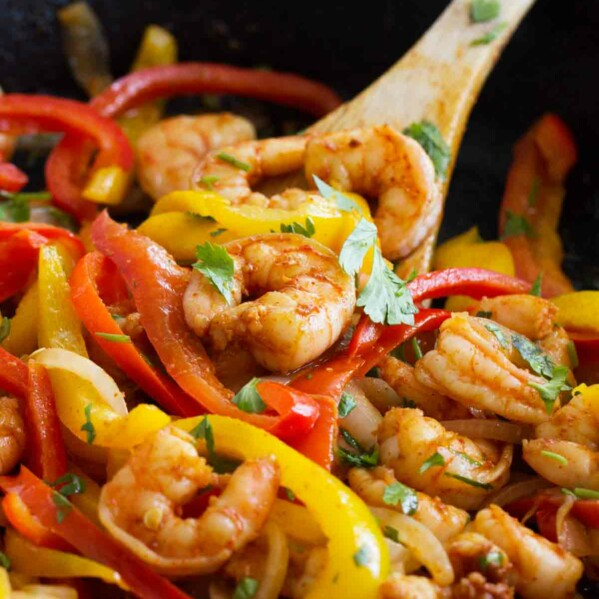 Close up of Skillet Shrimp Fajitas