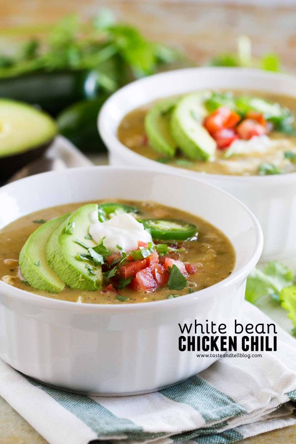 Bowls of White Bean and Chicken Chili