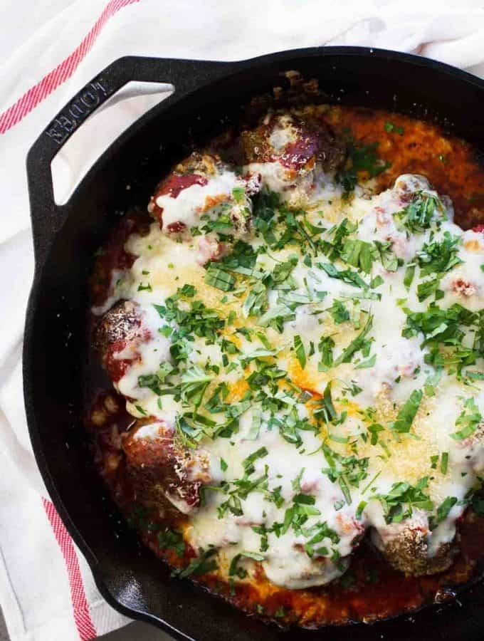 Meatball Parmesan Skillet