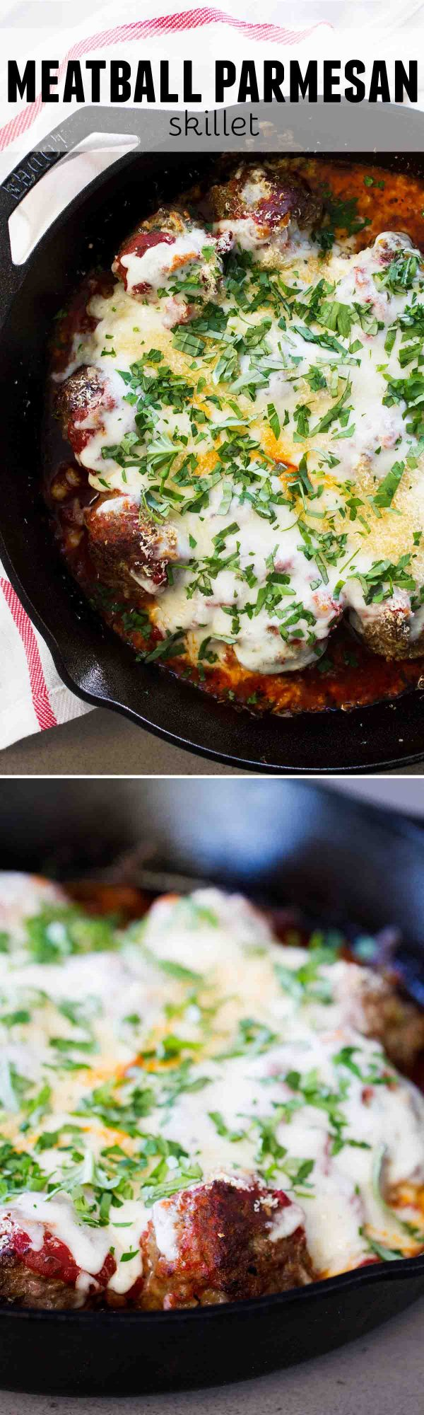 Meatball lovers - this Meatball Parmesan Skillet is for you! Juicy homemade meatballs are covered in a quick and easy marinara sauce, then smothered in cheese. Flavor overload!