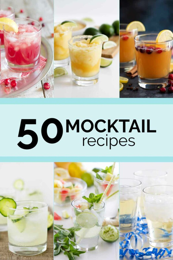 collage of mocktails with text in the center