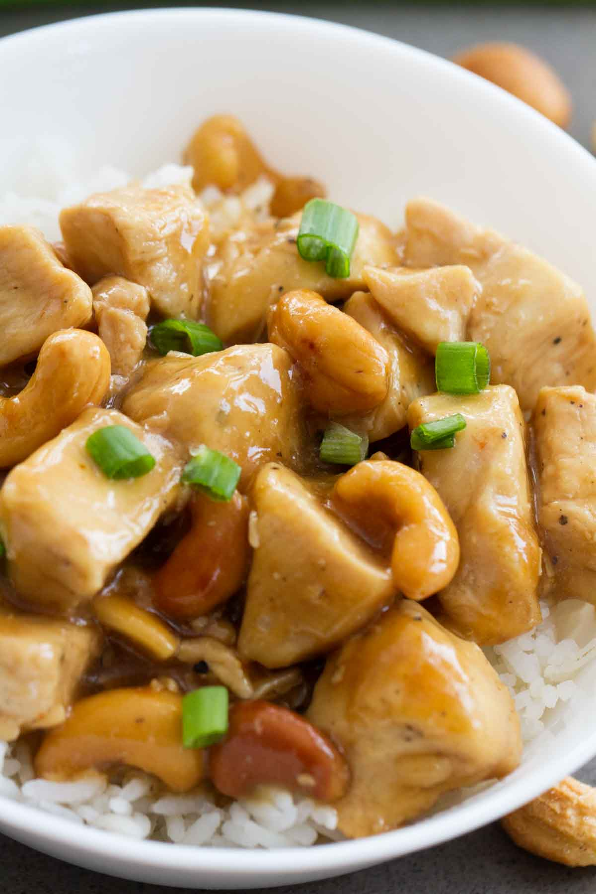 close up view of cashew chicken over rice