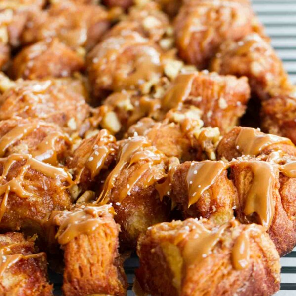 Your holiday breakfast can be easy and impressive - it doesn't get much easier than this Slow Cooker Monkey Bread with Salted Caramel and Walnuts!
