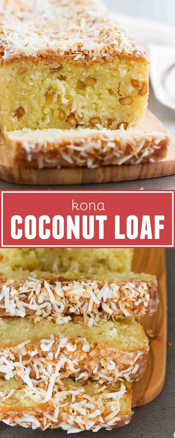 Transport yourself to the tropics with this Kona Coconut Loaf! Sweet coconut and nutty macadamia nuts make this loaf cake the perfect dessert for when you are wanting something tropical.