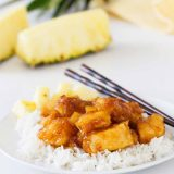pineapple chicken on a plate