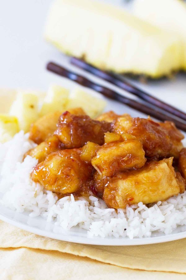 close up of pineapple chicken