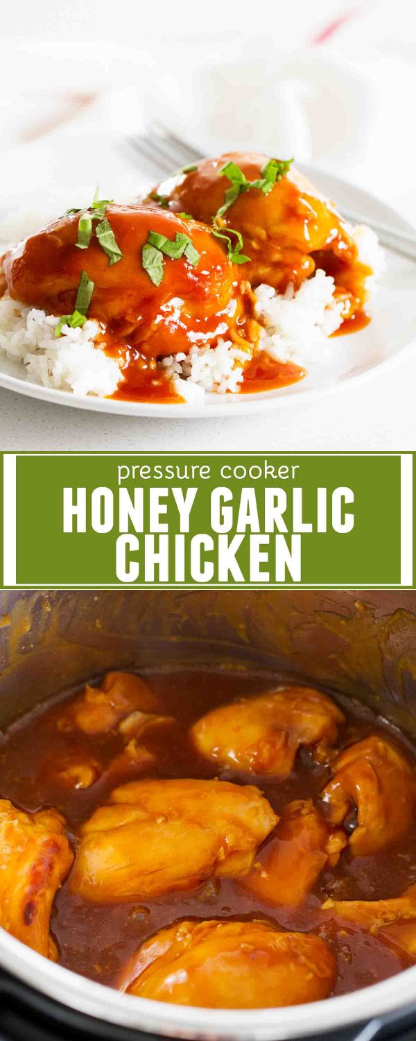 Super easy and super fast, this Pressure Cooker Honey Garlic Chicken is full of flavor and a family friendly dinner recipe. So much flavor with very little effort!