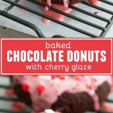 Baked Chocolate Donuts with Cherry Glaze collage