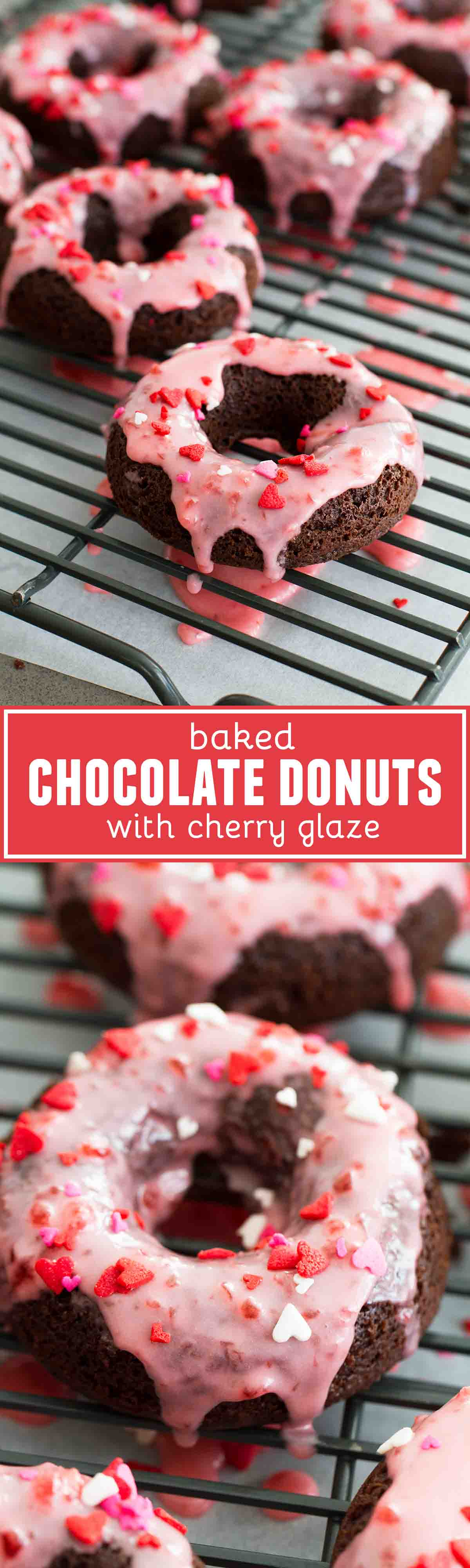An easy recipe for Baked Chocolate Donuts with an easy Cherry Glaze. Perfect for breakfast, dessert, or a special holiday treat.