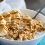 Peanut Butter, Coconut and Banana Oatmeal in a bowl