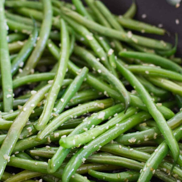 close up of Sesame Green Beans - easy side dish