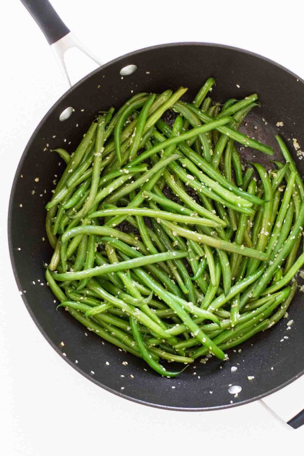 Sesame Green Beans in a pan
