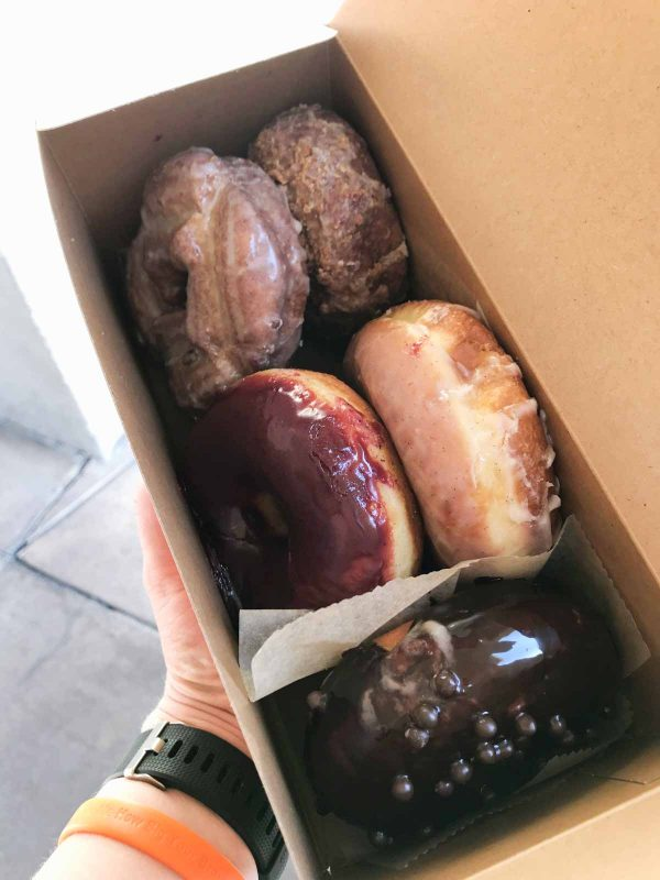 Box of doughnuts from Sidecar Doughnuts