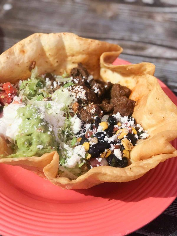 Tostada Salad with Marinated Beef from Rancho del Zocalo Restaurante in Disneyland