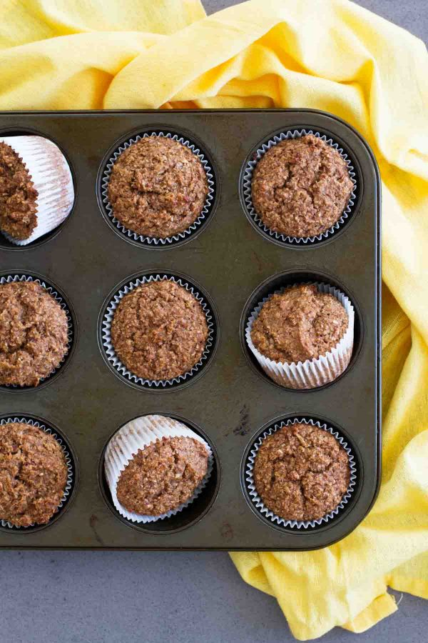 Healthy Whole Wheat Bran Muffins in pan