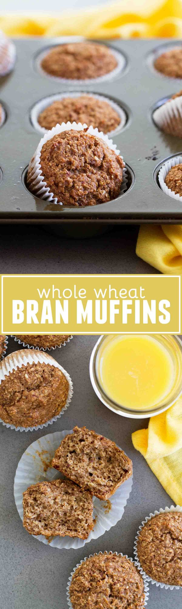 This recipe for Whole Wheat Bran Muffins is a great way to start your day! Filled with whole grains and sweetened with bananas and dates, these muffins are healthy, hearty and delicious!