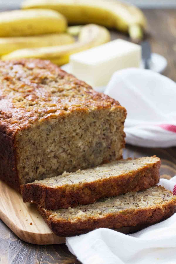 Sliced Banana Oat Bread on a cutting board