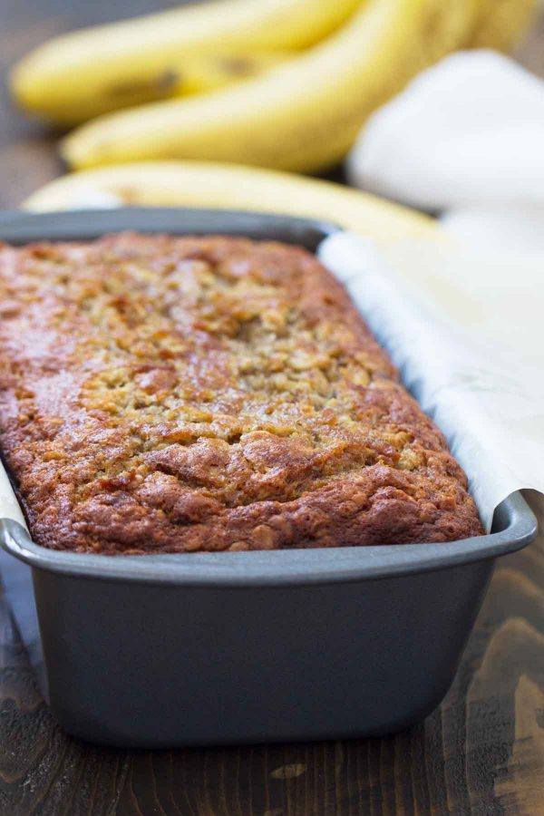Banana Oat Bread in a pan