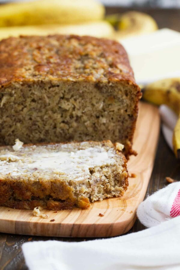 Slice of Banana Oat Bread with butter