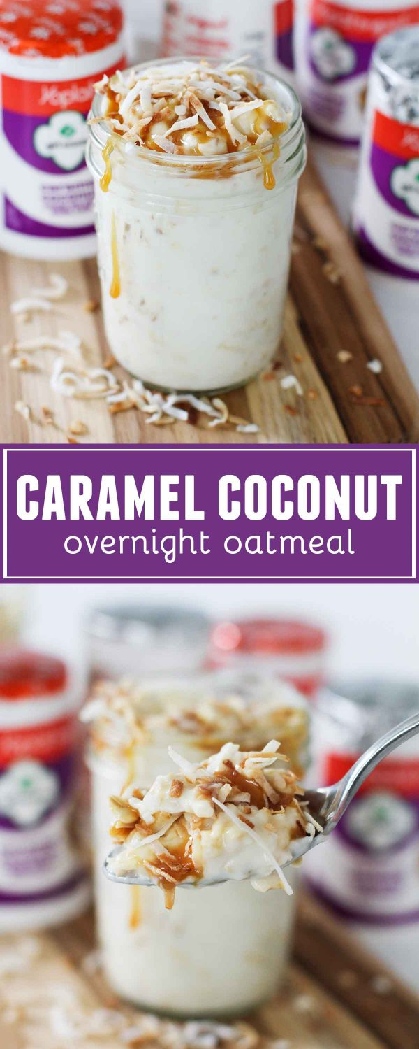 How to make Caramel Coconut Overnight Oatmeal - just 5 minutes prep the night before gives you an easy grab and go breakfast the next morning. Super simple, and all you need are oats, Yoplait® Caramel Coconut yogurt, and toasted coconut!