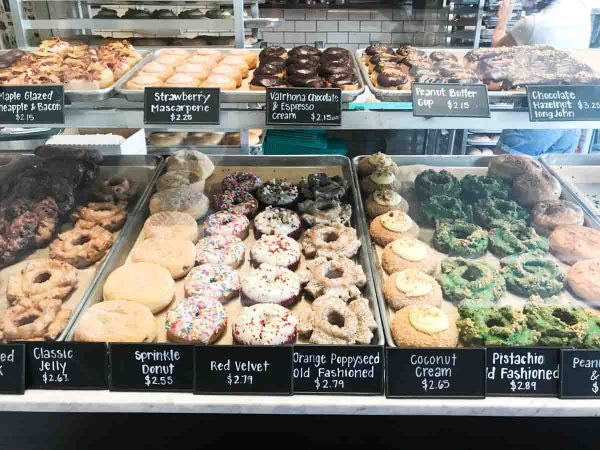 Case of donuts at Firecakes Donuts in Chicago, IL