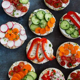 Ranch and Vegetable Topped Rice Cakes - easy snack ideas for mom
