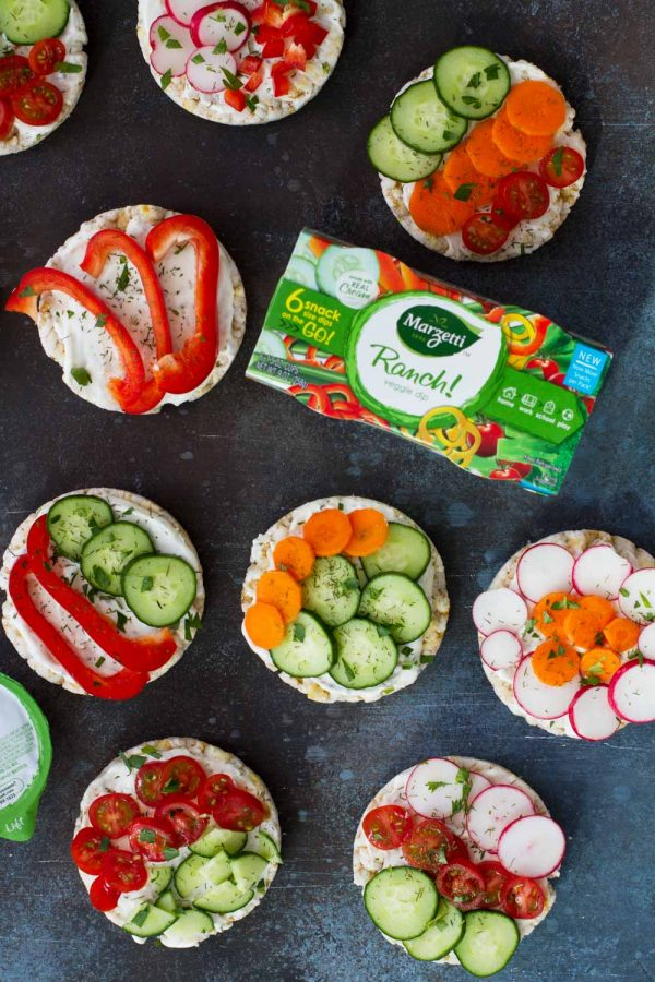 Healthy Snack Ideas for mom - Ranch and Vegetable Topped Rice Cakes