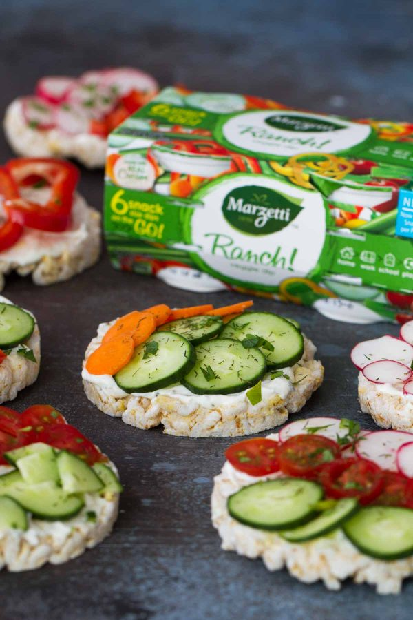 Ranch and Vegetable Topped Rice Cakes