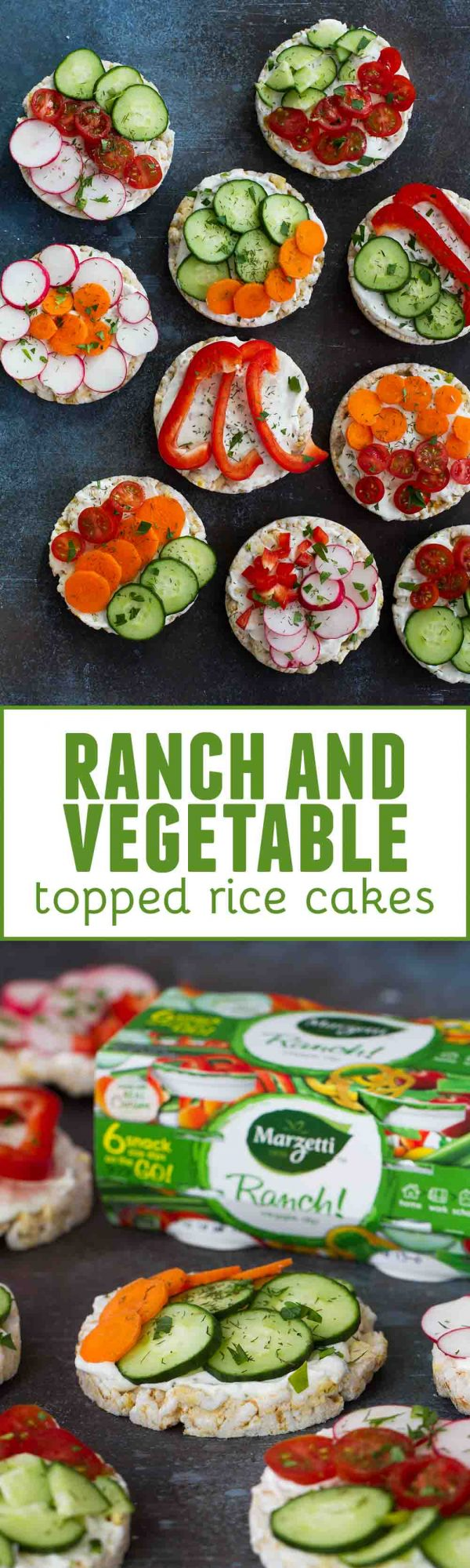 The perfect snack or super easy lunch recipe - these Ranch and Vegetable Topped Rice Cakes are easy, fast, healthy and perfect for moms and kids!