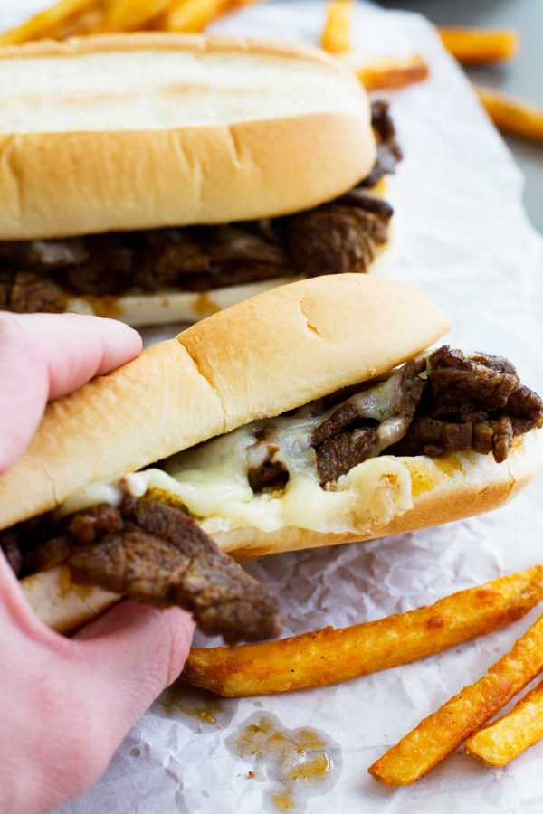quick dinner recipe - Spicy Cajun Cheesesteak Sandwiches
