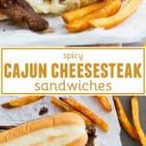 Spicy Cajun Cheesesteak Sandwiches collage