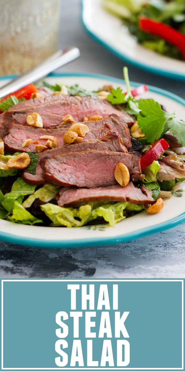 Anything but boring, this Thai Steak Salad is a hearty side dish or easy main dish that you'll want to serve all summer long. Juicy, flavorful steak goes on this salad filled with lots of vegetables and Thai flavors.