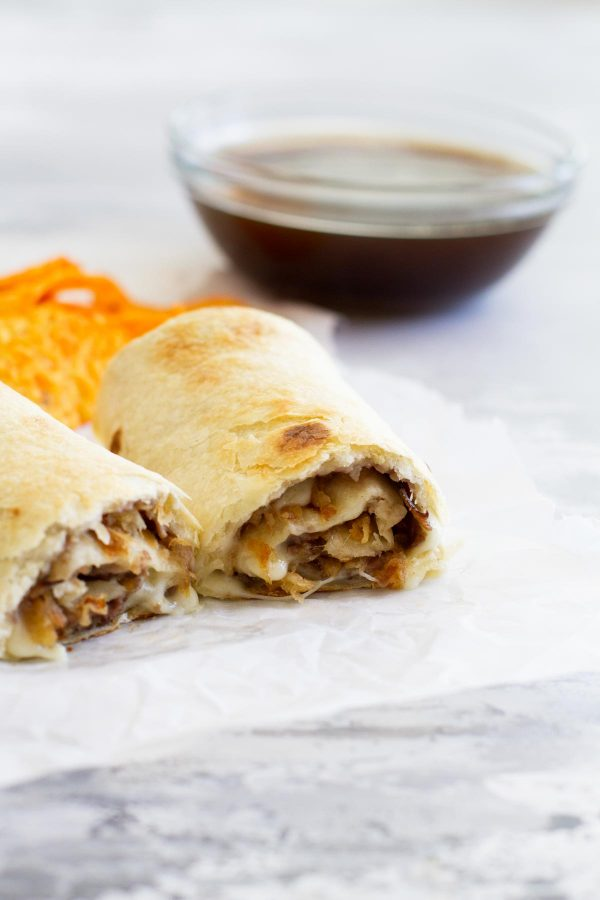 French Dip Sandwich in Roll Up form