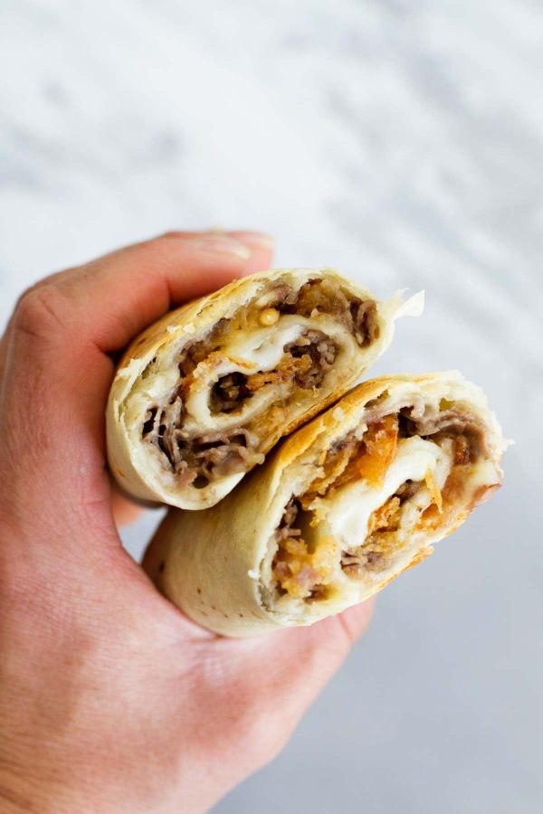 summer dinner idea - French Dip Tortilla Roll Ups