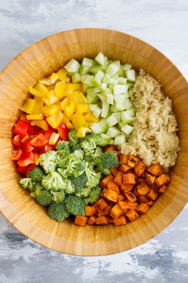 Ingredients for Quinoa and Roasted Sweet Potato Salad