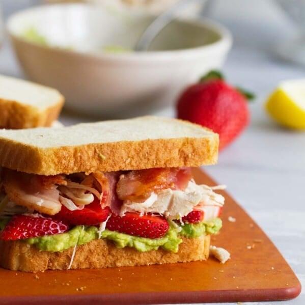 Strawberry Avocado Chicken Club Sandwich recipe