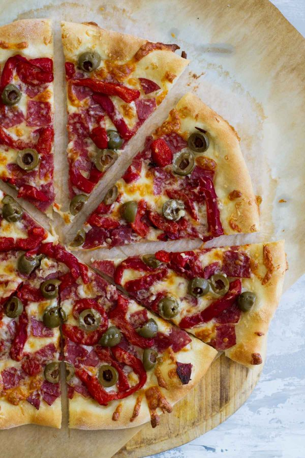Antipasto Pizza With Salami And Roasted Red Peppers Taste And Tell