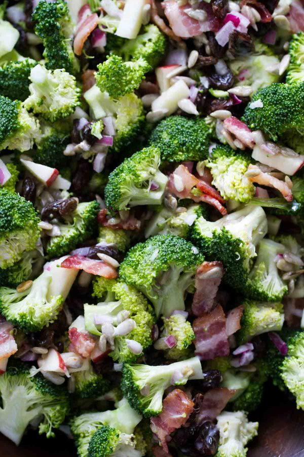close up of broccoli salad