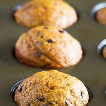 Easy Pumpkin Muffins with Chocolate Chips in a pan