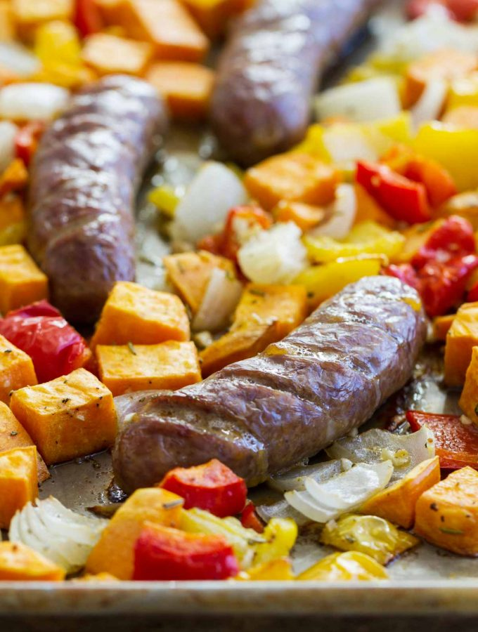Sheet Pan Italian Sausage and Peppers Recipe with Sweet Potatoes