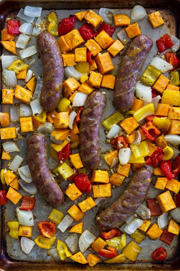 Sheet Pan Sausage and Peppers Recipe with Sweet Potatoes