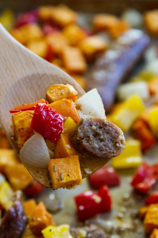 Easy Sheet Pan Dinner - Sausage and Peppers with Sweet Potatoe