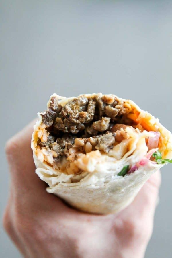 Carne Asada Burrito from Mi Angel Street Tacos