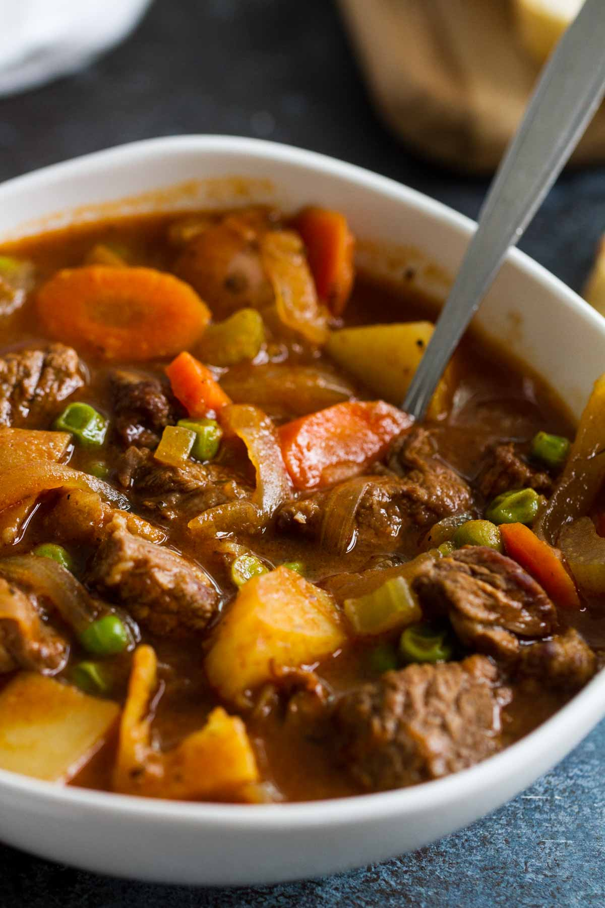 close up of beef stew with vegetables