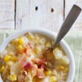 Crock Pot Corn Chowder with bacon