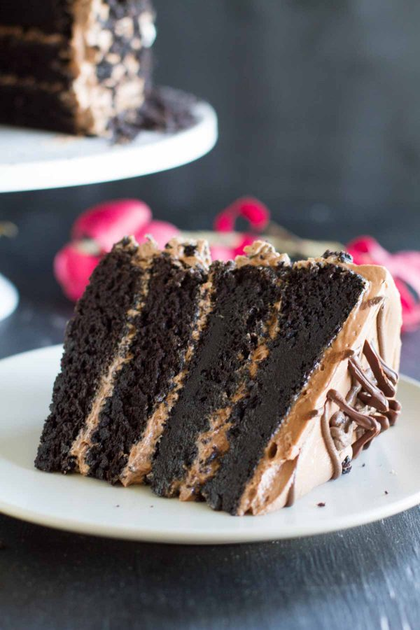 Dark Chocolate Layer Cake with Nutella Buttercream